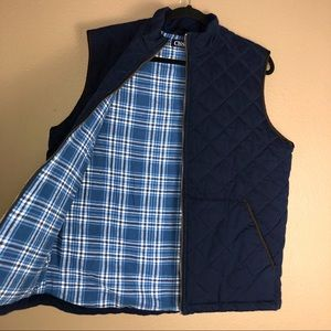 CHAPS | Quilted Plaid Lined Full Zip Vest M